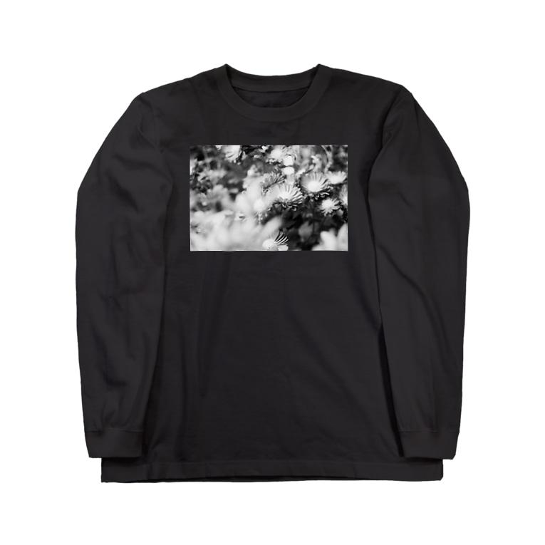 akane_artのモノクロフラワー(キク) Long sleeve T-shirts
