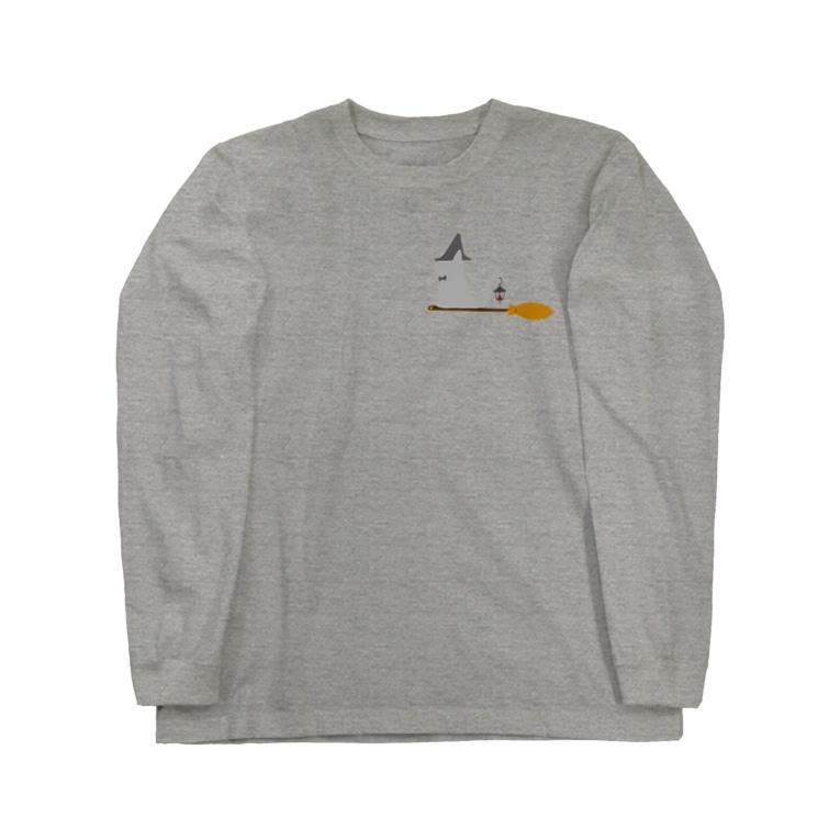 ちょぼろうSHOPのとんがり帽子猫(箒ランプ) Long sleeve T-shirts