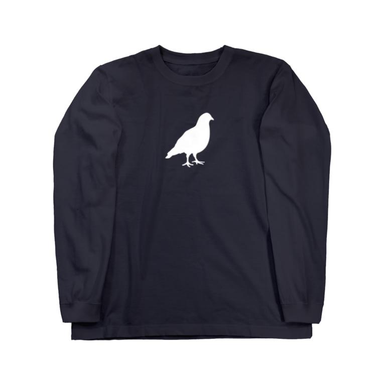 Achiとハトとみんなの店のハトの面影(白) Long sleeve T-shirts