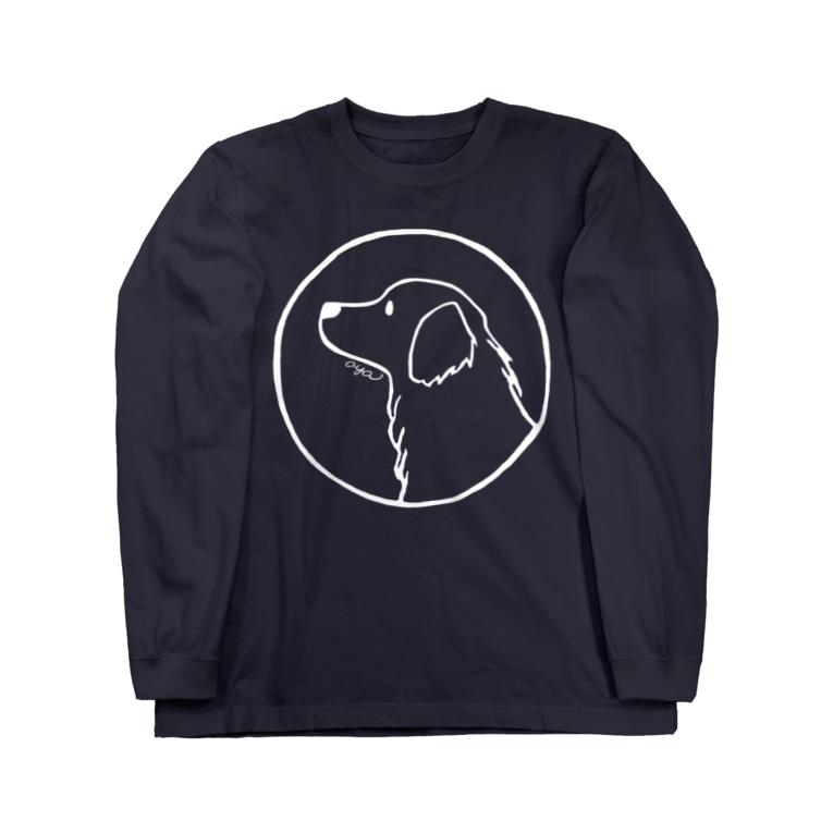 aya1のゴールデン・レトリーバー〈白線・円〉 Long sleeve T-shirts