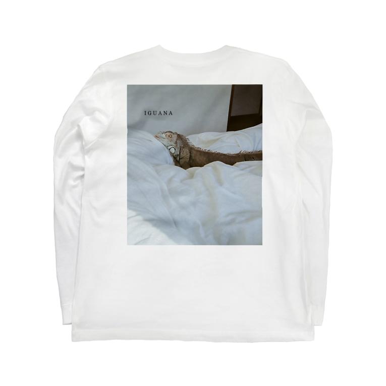 satomamiのグリーンイグアナバックプリント Long sleeve T-shirtsの裏面