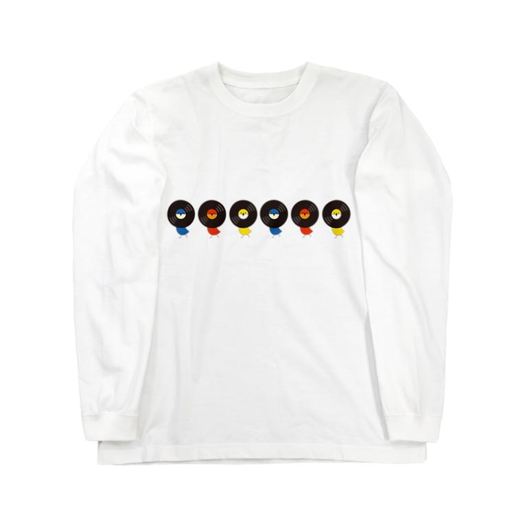 masamichironのレコードリ数珠つなぎ(月夜-お日様-秋の滝) -Left Walk Long sleeve T-shirts