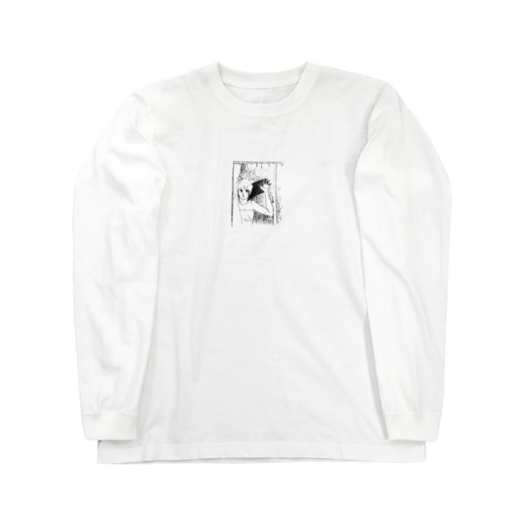入り江わにアナログ店の曇ったガラスを拭く女 Long Sleeve T-Shirt