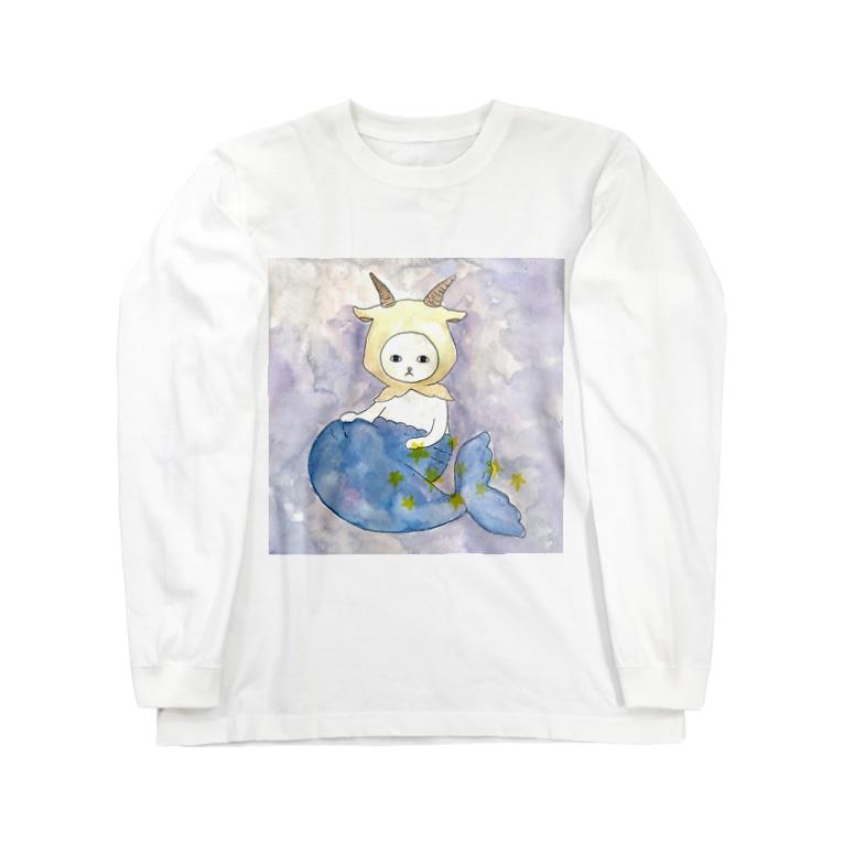 フクモトエミのやぎ座のネコ Long sleeve T-shirts