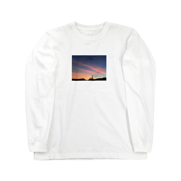 cozcozの港の夕焼け Long sleeve T-shirts