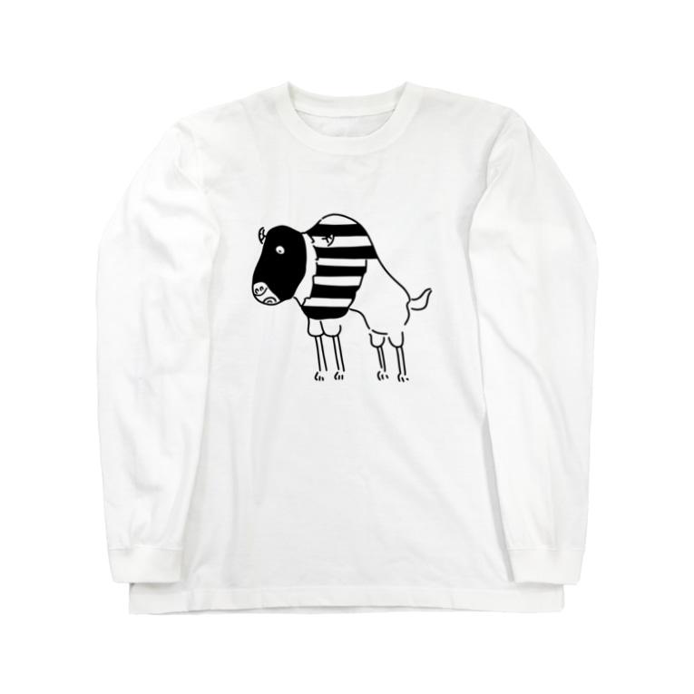 Aliviostaのスピードバッファロー 牛 動物イラスト Long sleeve T-shirts