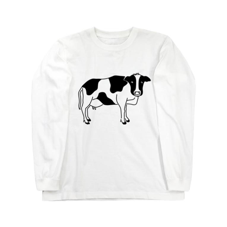 Aliviostaの牛が見てる ウシ 動物イラスト Long sleeve T-shirts