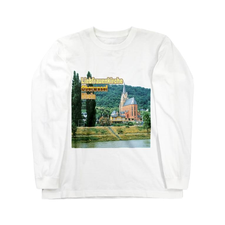 FUCHSGOLDのドイツ:ライン川と教会 Germany: Church at Rhein/ Oberwesel Long sleeve T-shirts