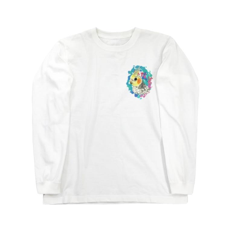 *えいぷりる どぎぃ工房*のパールのオカメちゃん Long sleeve T-shirts