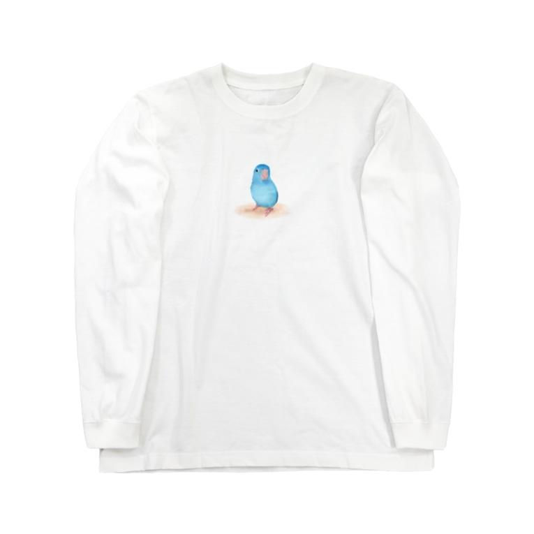 まめるりはことりのブルーマメルリハ【まめるりはことり】 Long sleeve T-shirts