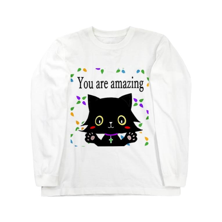 Myalmoのクリスチャンな黒猫グッズ Long sleeve T-shirts