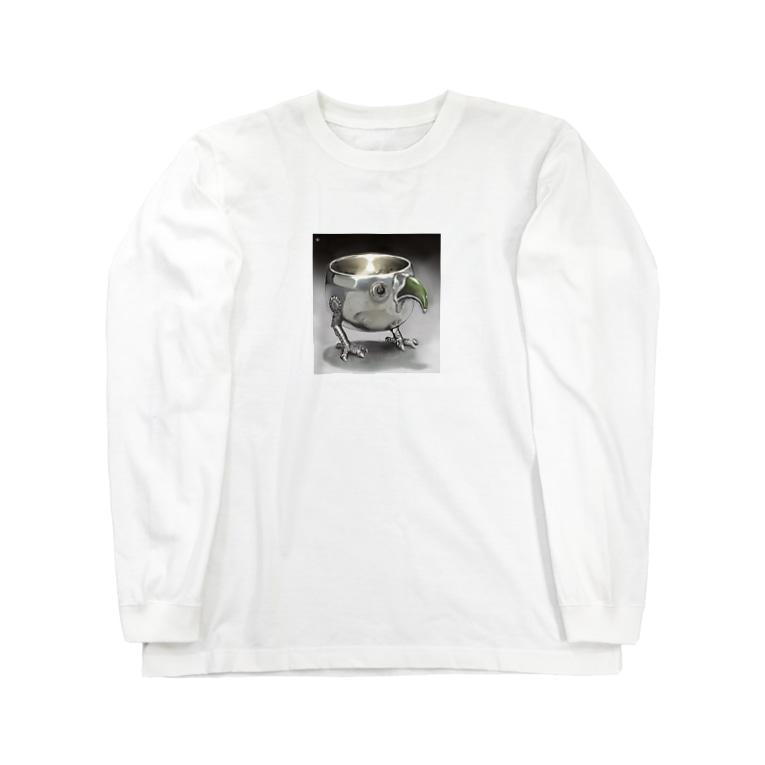 幾瀬陽七乃@お仕事募集中の金属の鳥のコップ Long sleeve T-shirts