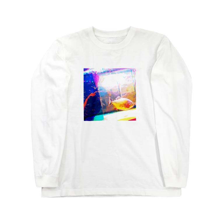きたこのピラニアインスクエア Long sleeve T-shirts