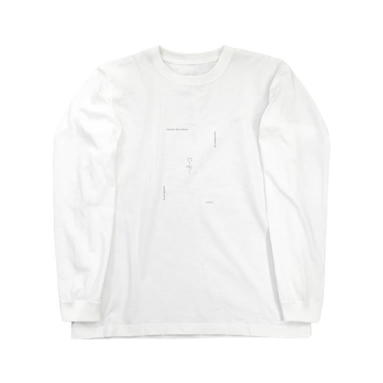 rilybiiの線画チューリップとメッセージ* Long sleeve T-shirts