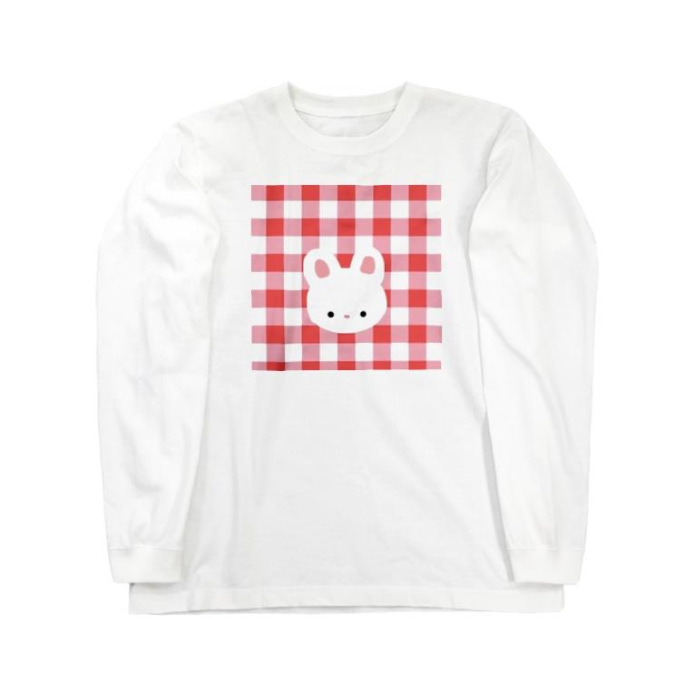 inomalのギンガムうさちゃん Long sleeve T-shirts