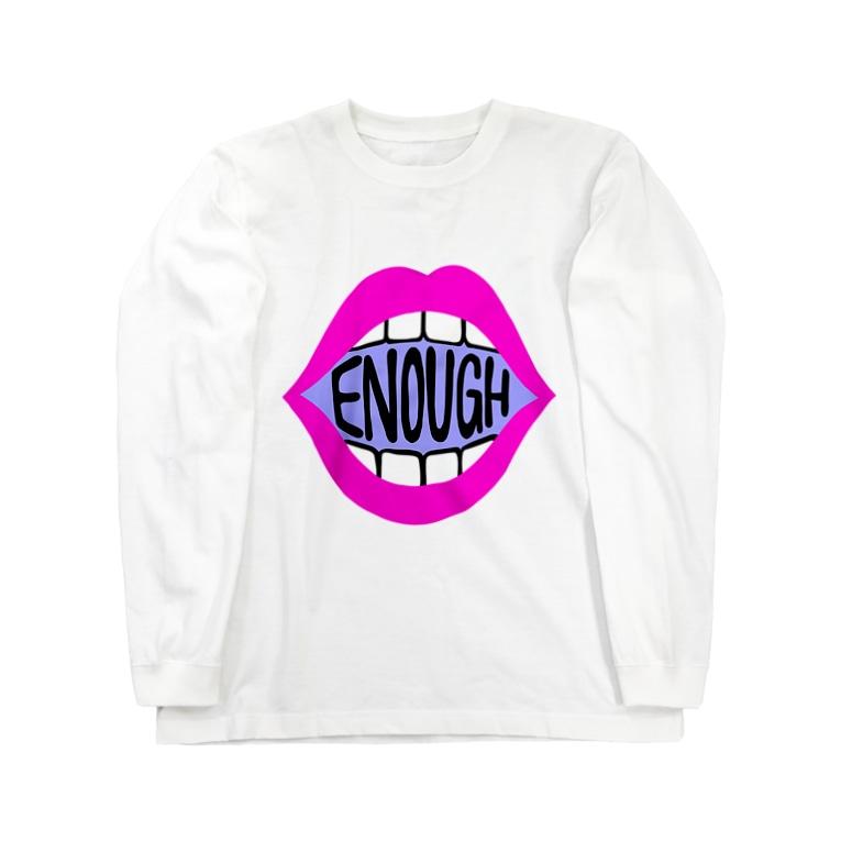 Mieko_KawasakiのENOUGH IS ENOUGH! MOUTH PINK Long Sleeve T-Shirt