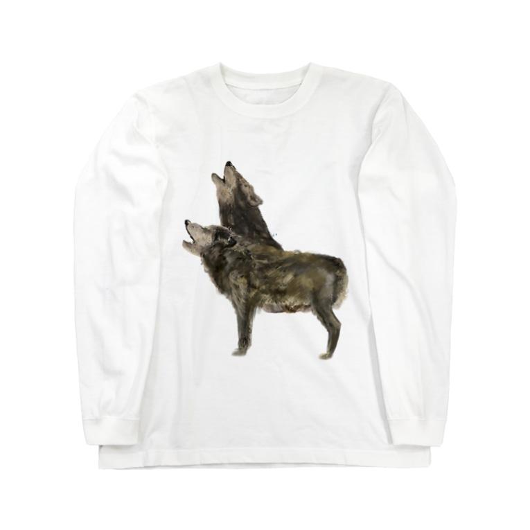 スマホdeイラストレーター・古川 セイのオオカミ Long sleeve T-shirts