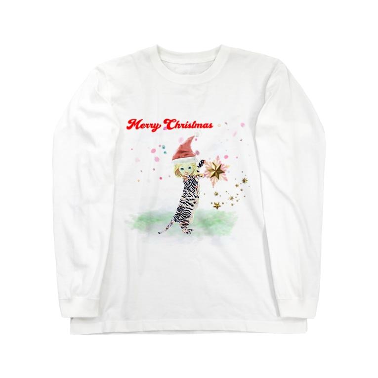 Rock catのメリークリスマス ちびねこ Long sleeve T-shirts