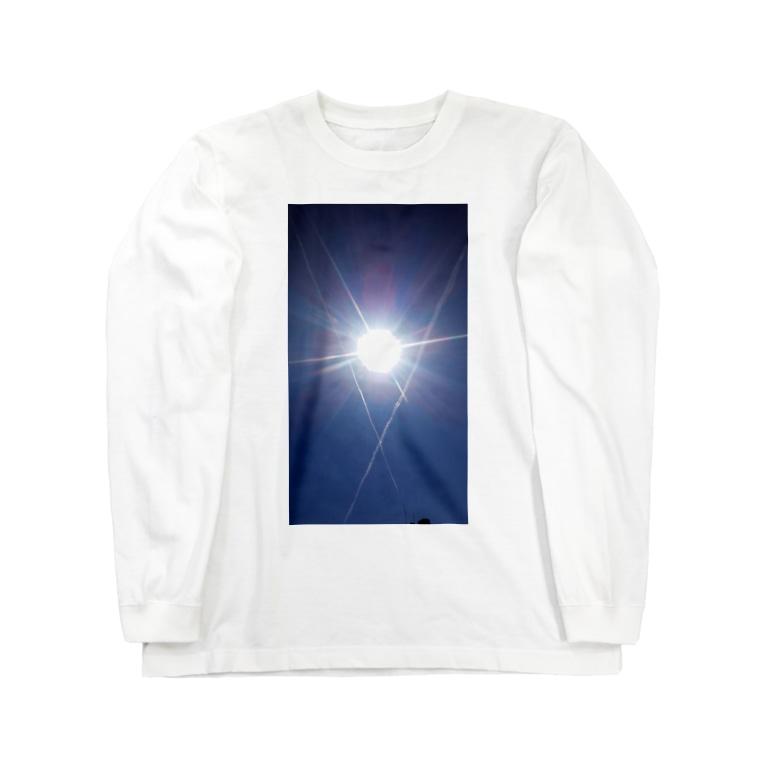 普通に良い店の太陽と飛行機雲 Long sleeve T-shirts