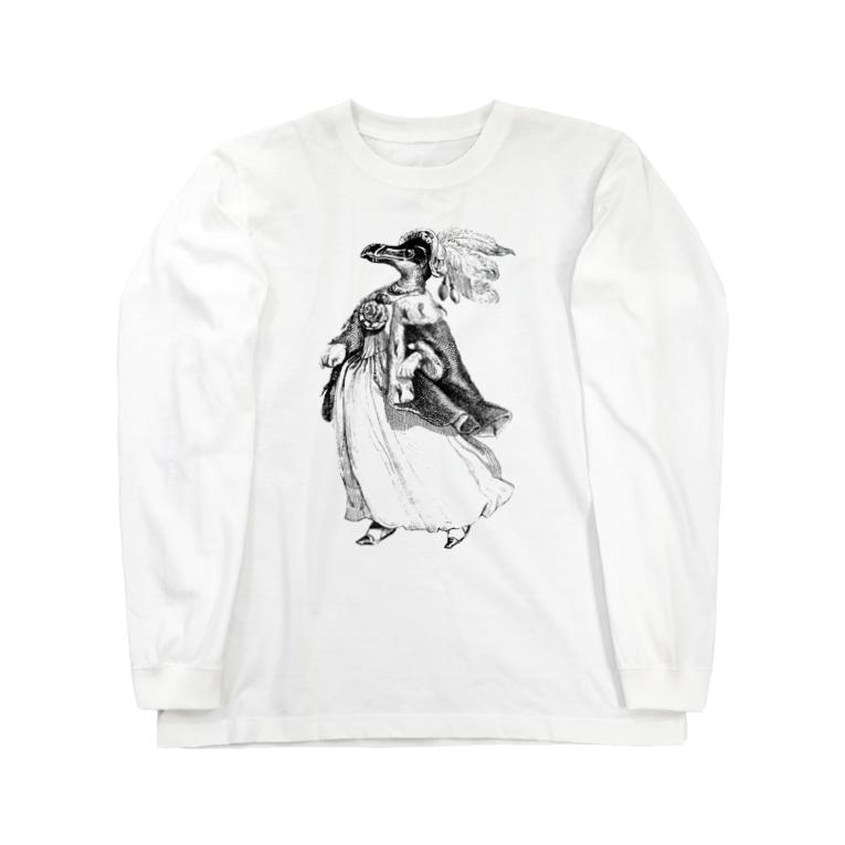 古書 天牛書店のグランヴィル「ペンギン」 <アンティーク・プリント> Long sleeve T-shirts