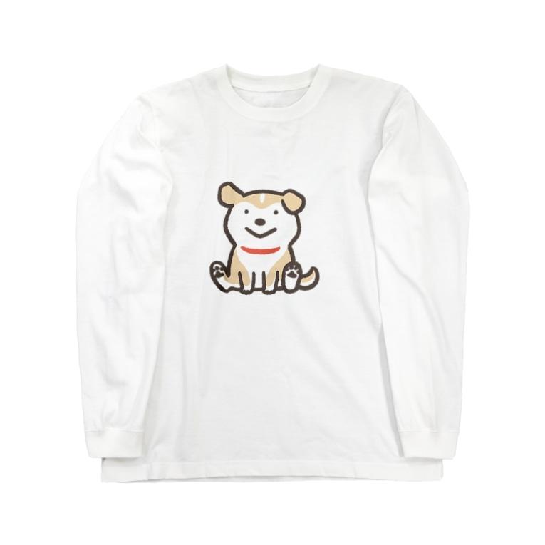 のばされわんこ SUZURI店の◆おすわりこわんこ Long sleeve T-shirts