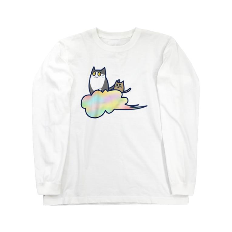 cosmicatiromの五色の雲と二匹の猫 Long Sleeve T-Shirt