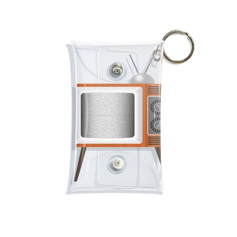 illust_designs_labのレトロでリアルなテレビのイラスト 砂嵐ノイズの画面 脚付き Mini Clear Multipurpose Case