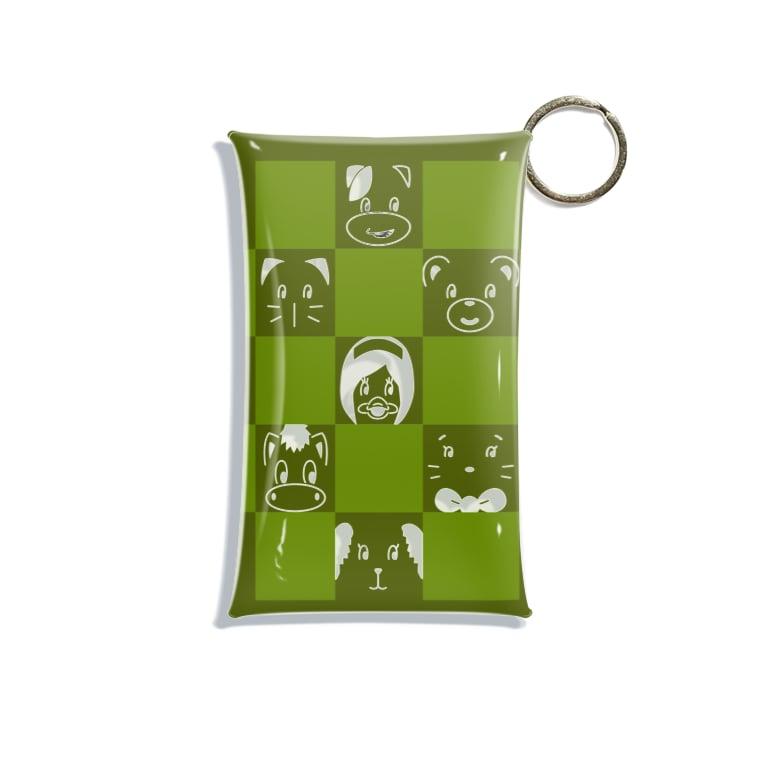 ヤシログラムショップのチームこらいふ・フェイス柄グリーン Mini Clear Multipurpose Case