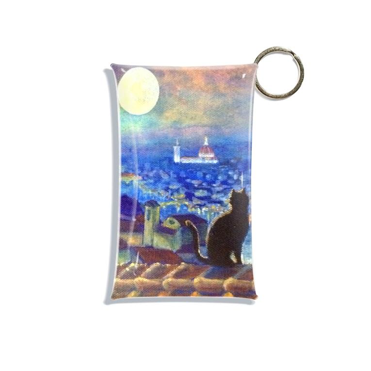 Akiyoのフィレンツェ画房 の月夜猫フィレンツェ1 Mini Clear Multipurpose Case