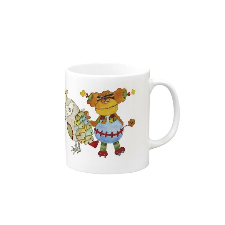 ねこぜや のROBOBO「全員集合!」スチームパンク   猫 犬 鳥 うさぎ Mugs