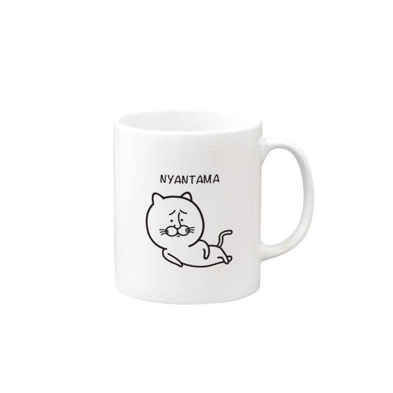 Tom's Factoryのにゃんたま[猫 ゆるキャラ シンプル] Mug