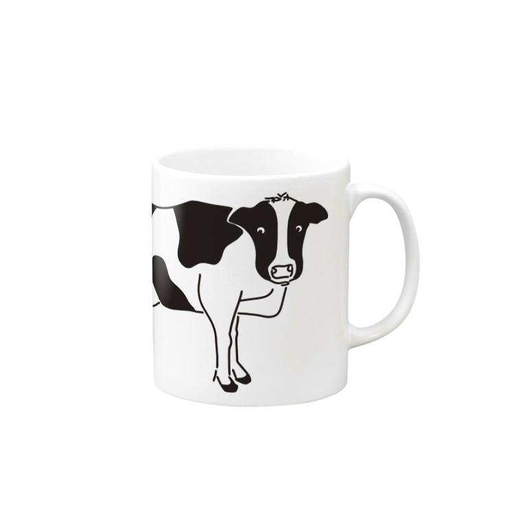 Aliviostaの牛が見てる ウシ 動物イラスト Mugs