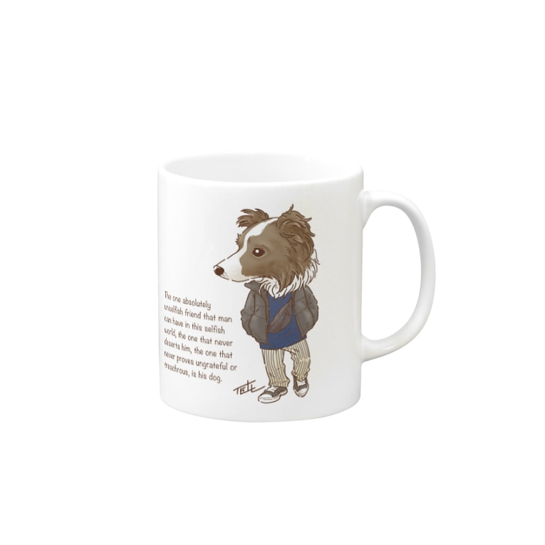 愛犬描処 プルーデンスのおしゃれボーダー Mugs