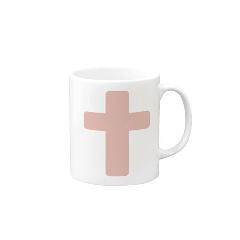 アメリカンベースのピンクの十字架 Mugs