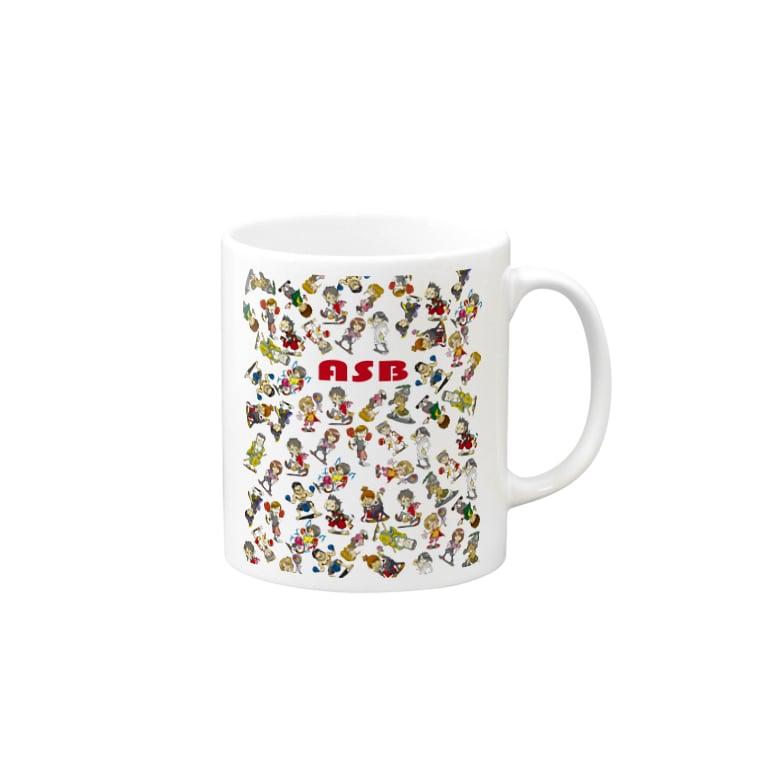 ASB boxingclub SHOPのASBスタッフキャラクターアイテム(白) Mugs