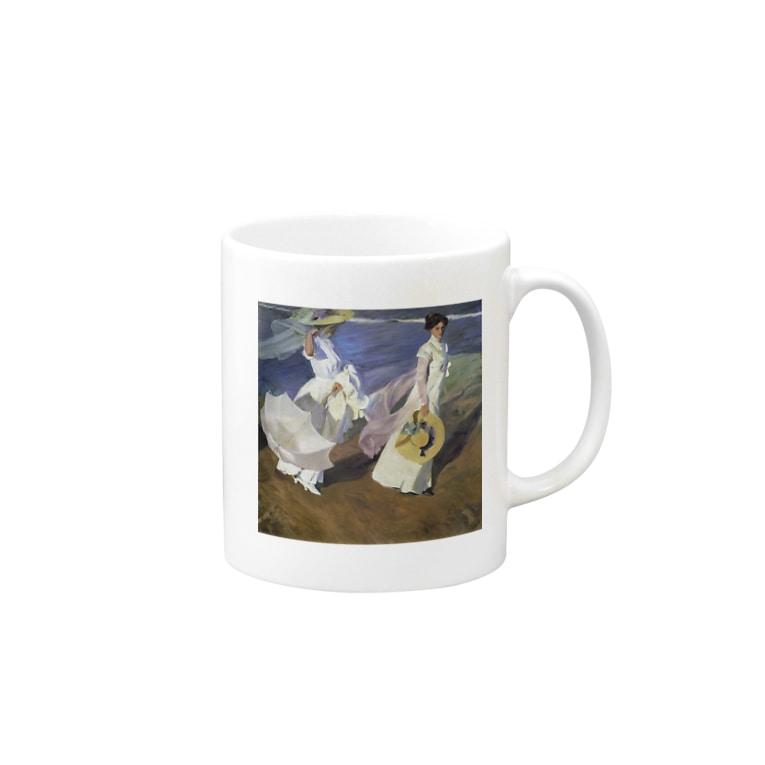 世界の絵画アートグッズのホアキン・ソローリャ《海辺の散歩》 Mug