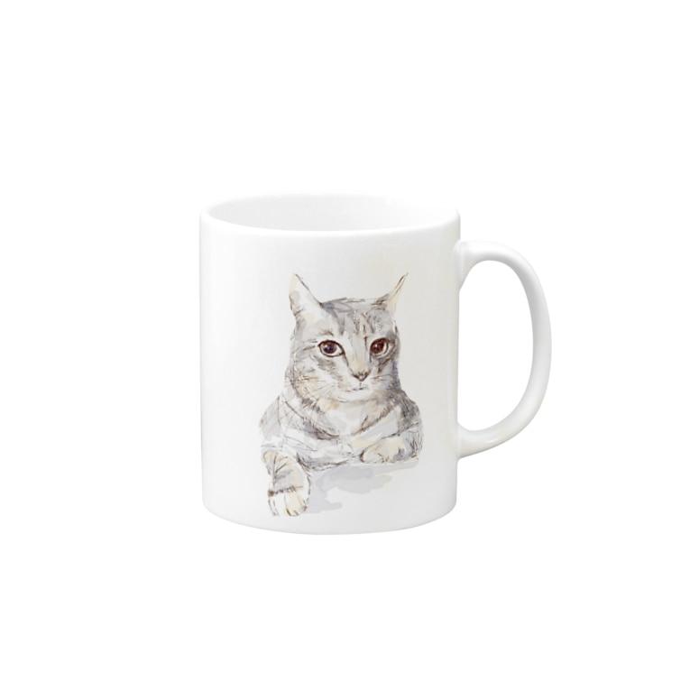 百合の筆のそんなにみつめないで!ドキドキしちゃうから♪かわいい猫のイラスト Mugs
