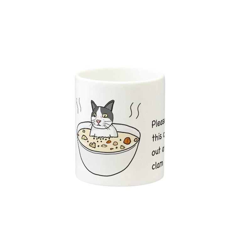 ZAZY official shopのこの猫をクラムチャウダーから出してください Mugsの取っ手の反対面