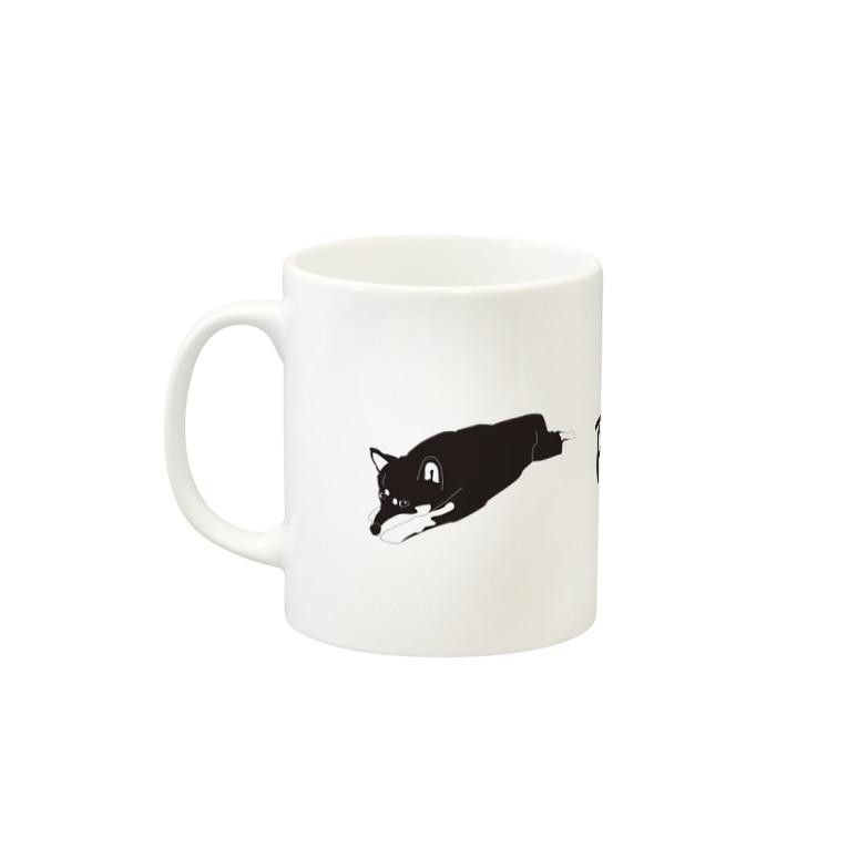 Petan Dogのペタンする黒の柴犬 伸び Mugsの取っ手の左面