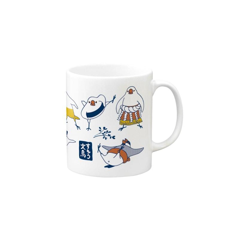 もしもしこちら文鳥のすもう文鳥マグ(3色) Mugsの取っ手の右面