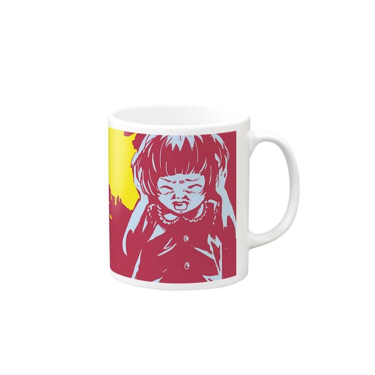 怖話-Girlイラスト3(Mug-Cup Pink) マグカップ