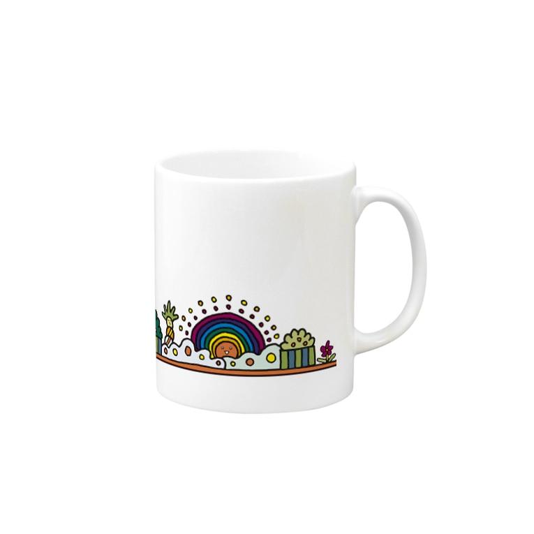 YASUHの虹のような太陽とマンション Mugの取っ手の右面