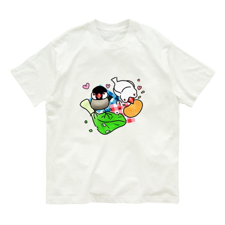 Lily bird(リリーバード)のもぐもぐ文鳥ず② Organic Cotton T-Shirt
