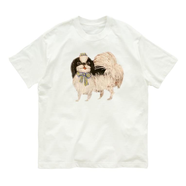 ヤマネコ。の部屋の狆 ブルーリボン Organic Cotton T-shirts