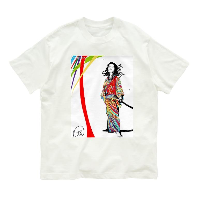 仁三郎アートのカラフルサムライ。斬る。 Organic Cotton T-shirts