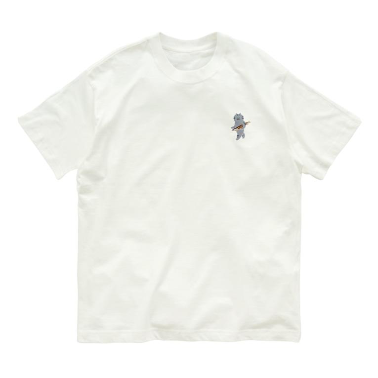 SUIMINグッズのお店の【小】盗んだ焼きサンマと歩き出す猫 Organic Cotton T-shirts