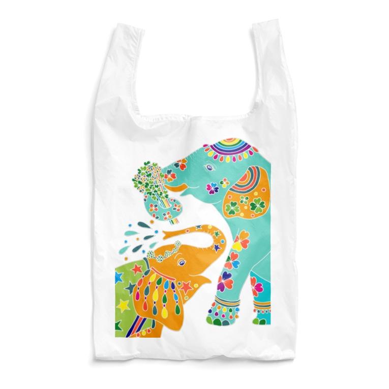 YASUHのゾウと4つ葉のクローバー Reusable Bag
