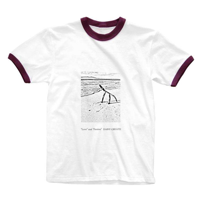 DAISY CREATE | デイジークリエイト | 愛と情熱を日常で感じるの沖縄の海と流木 Ringer T-shirts