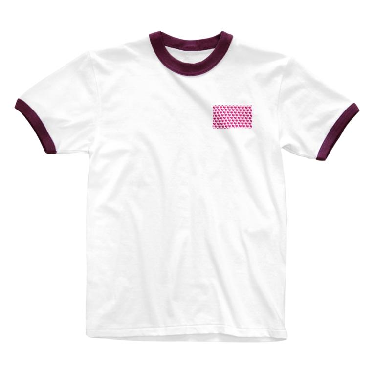 kana design factoryの3Dハートのかわいいパターン Ringer T-shirts