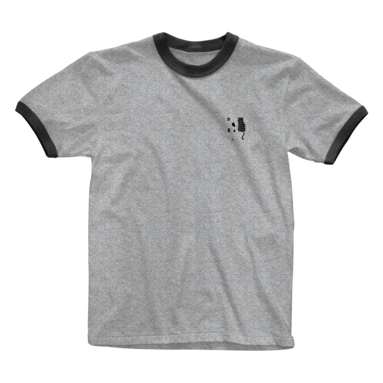 NecoKnickKnackの三匹の猫 Ringer T-shirts